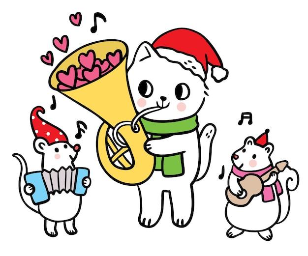 만화 귀여운 크리스마스와 새해 고양이와 쥐와 다람쥐 연주 음악 벡터