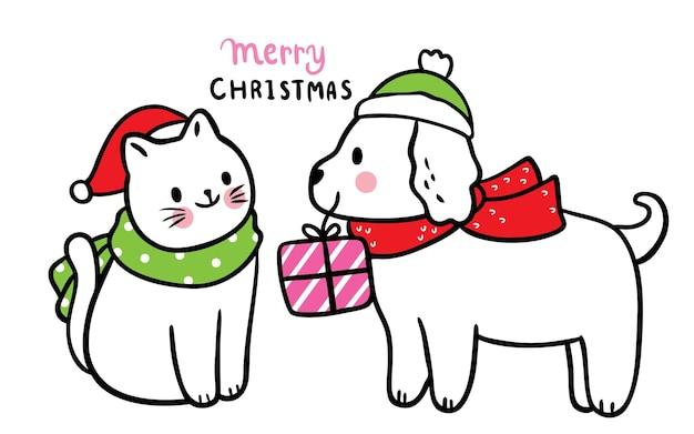 Мультяшный милый рождество и новый год собака и кошка и настоящий вектор