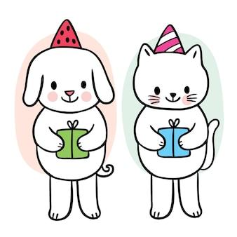 Мультфильм милый рождество и новый год собака и кошка и подарки вектор
