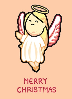 長いブロンドの髪を持つ漫画かわいいクリスマスの天使ベクトルイラスト