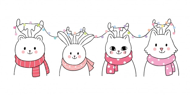 Cartoon cute christmas, animals and lights vector.