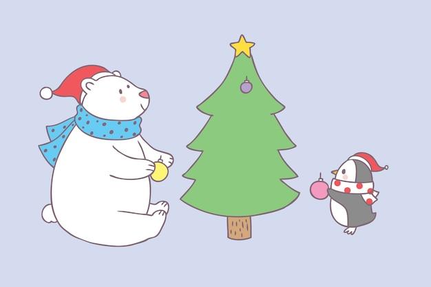 Cartoon cute christmas bear and penguin decorating vector.