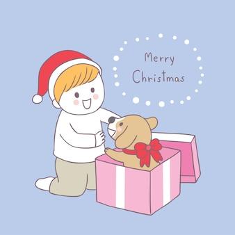 Cartoon cute christmas boy and dog vector.