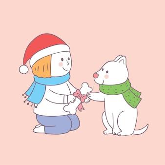 Cartoon cute christmas boy giving gift for dog vector.