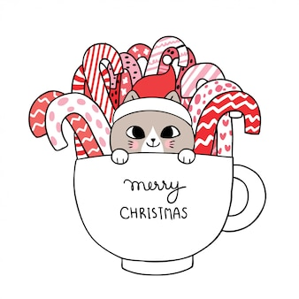 Cartoon cute christmas cat and candy in cup .