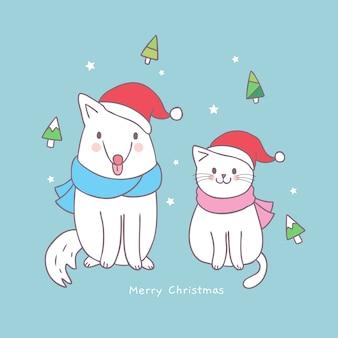 Cartoon cute christmas cat and dog vector.