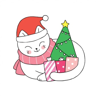 Cartoon cute christmas cat santa claus and gifts