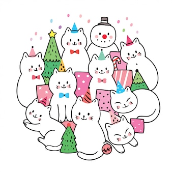 Cartoon cute christmas, cats and gifts and christmas tree vector.