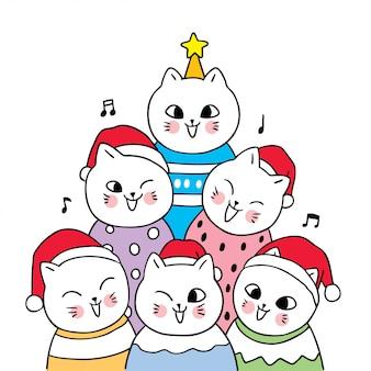 노래 축하 노래 귀여운 만화 크리스마스 고양이.