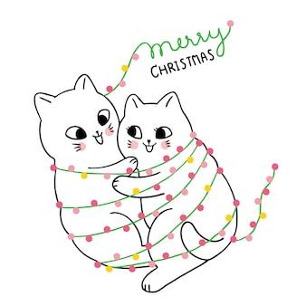 Cartoon cute christmas couple cat hugging .