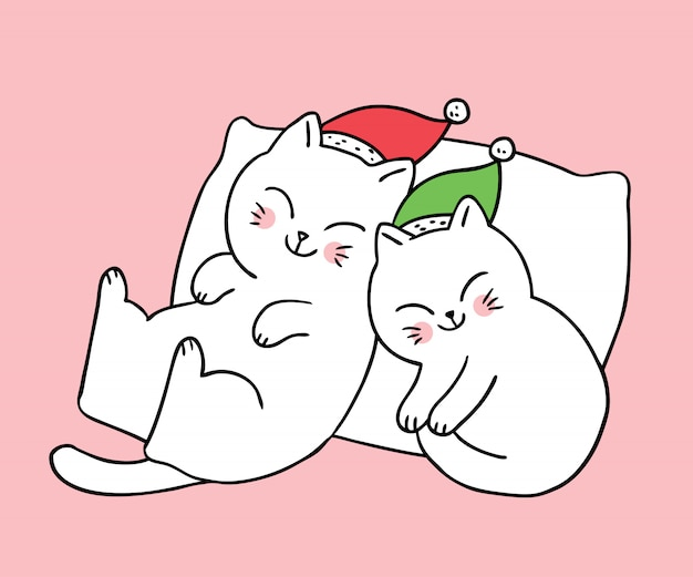 Cartoon cute christmas couple cats sleeping .