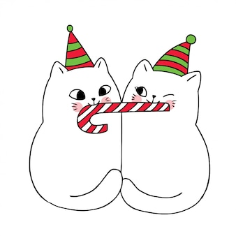 Cartoon cute christmas couple cats and sweet candy