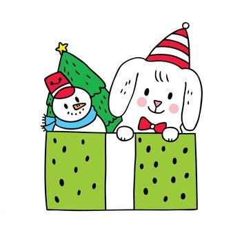 Мультфильм милый рождество собака и игрушка в коробке.
