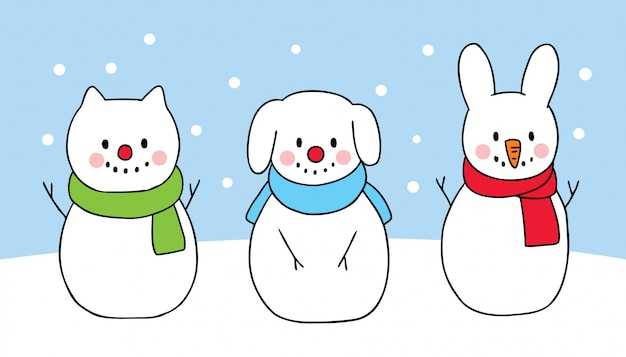 Cartoon cute christmas dog and cat and rabbit snowman