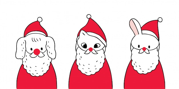 Cartoon cute christmas dog and cat and rabbit wearing santa claus suit