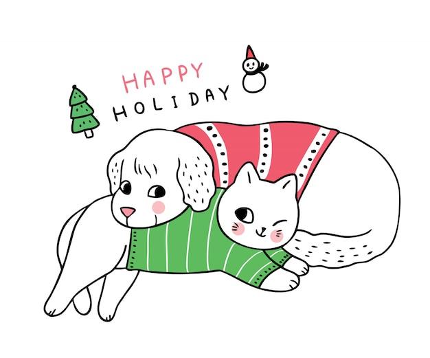 Cartoon cute christmas dog and cat sleeping .