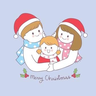 Cartoon cute christmas family vector.