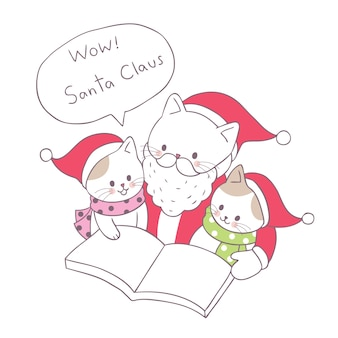 Cartoon cute christmas santa claus cat