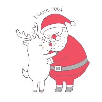 漫画かわいいクリスマスサンタクロース抱擁トナカイベクトル。