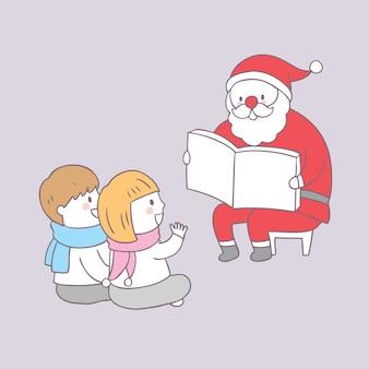 Cartoon cute christmas santa claus reading for kids vector.