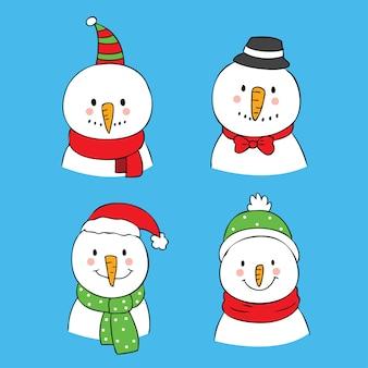 Cartoon cute christmas snowman vector.