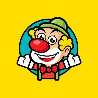 Cartoon cute clown with hand spread out