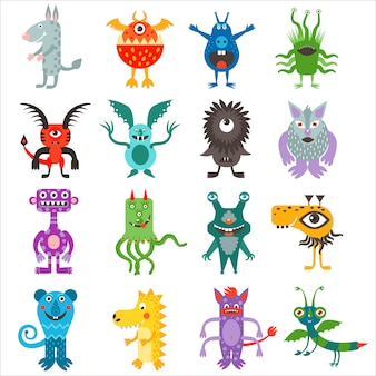 Cartoon cute color monsters aliens collection.