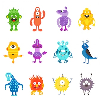 Cartoon cute color monsters aliens set