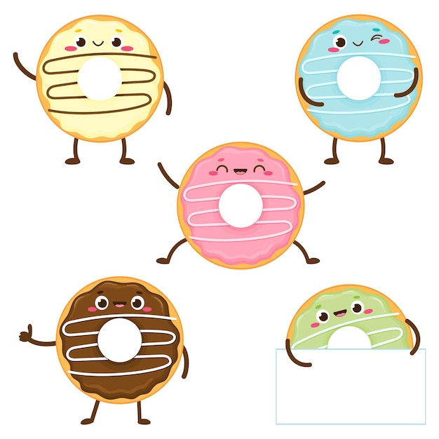 Cartoon cute colorful donut set with happy face