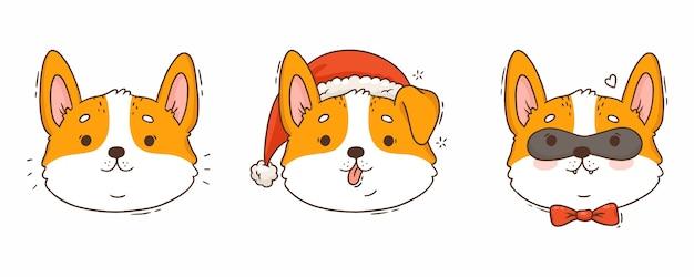 Мультяшные милые собаки корги в шляпе санта-клауса с бабочкой
