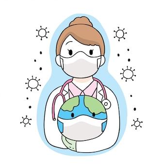Cartoon cute coronavirus, covid-19, doctor safe world