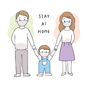 Cartoon cute coronavirus, covid-19, family  stay at home
