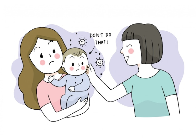 漫画かわいいコロナウイルス、covid-19、母親と赤ちゃん