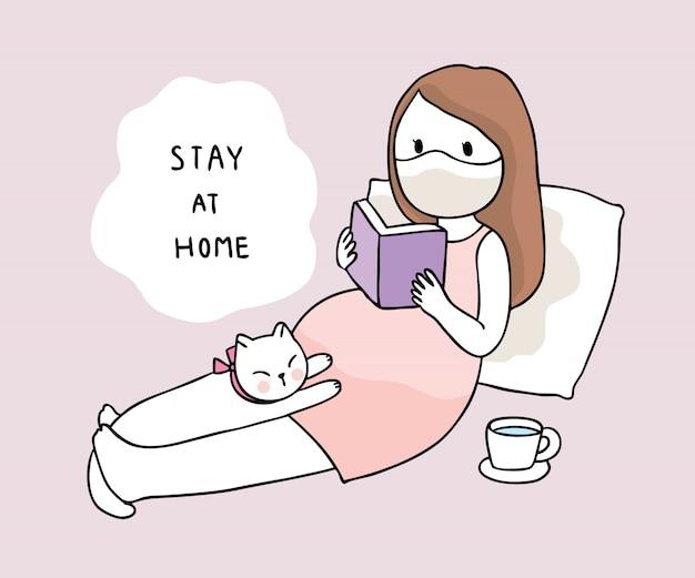 만화 귀여운 코로나 바이러스, covid-19, 임신 및 고양이는 집에 머물