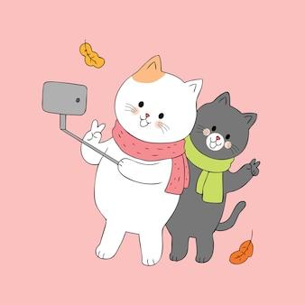 만화 귀여운 커플 고양이 벡터.