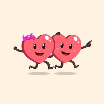 Cartoon cute couple heart character running
