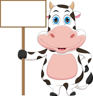 Cartoon cute cow and blank sign