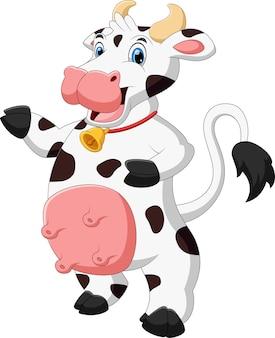 Cartoon cute cow waving on white