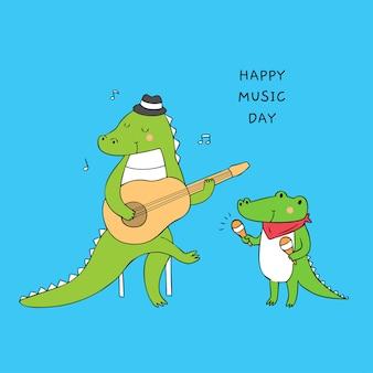 Cartoon cute crocodiles playing music vector.