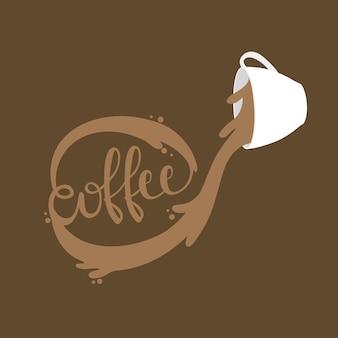 Cartoon cute cup splash word coffee vector.