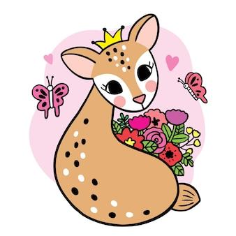 Мультфильм милый олень и бабочка и цветок вектор