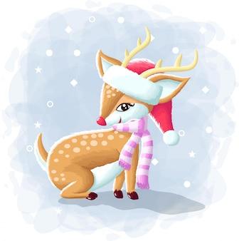 Cartoon cute deer merry christmas illustration