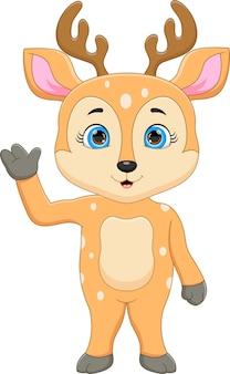 立って手を振ってポーズをとって漫画かわいい鹿