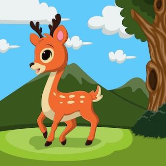 草の中に立っている漫画かわいい鹿
