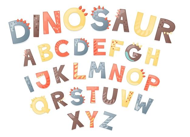 漫画かわいい恐竜のアルファベット。文字付きの恐竜フォント。 tシャツ、カード、ポスター、誕生日パーティーイベント、紙のデザイン、子供と保育園のデザインの子供ベクトルイラスト