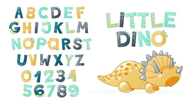 漫画かわいい恐竜のアルファベット。文字と数字のdinoフォント。 tシャツ、カード、ポスター、誕生日パーティーイベント、紙のデザイン、子供と保育園のデザインの子供ベクトルイラスト