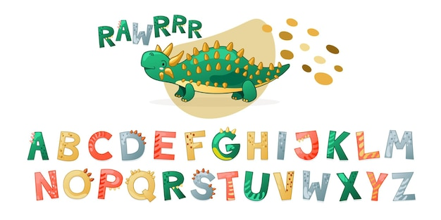 漫画かわいい恐竜のアルファベット。文字付きのdinoフォント。 tシャツ、カード、ポスター、誕生日パーティーイベント、紙のデザイン、子供と保育園のデザインの子供ベクトルイラスト