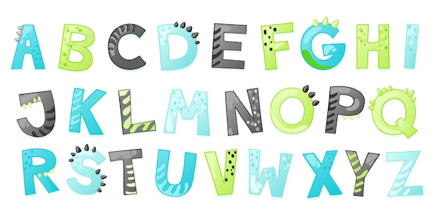 Cartoon cute dinosaur alphabet. dino font with letters. children vector illustration for t-shirts, cards, posters, birthday party events, paper design, kids and nursery design