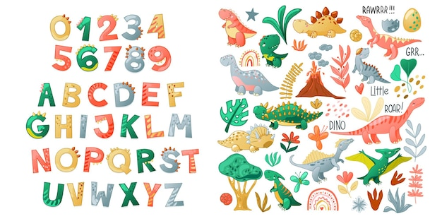 Cartoon cute dinosaur alphabet. dino font with letters and numbers. children vector illustration for t-shirts, cards, posters, birthday party events, paper design, kids and nursery design