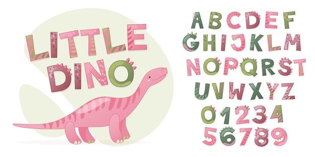 女の子のための漫画のかわいい恐竜のアルファベット。文字と数字のdinoフォント。 tシャツ、カード、ポスター、誕生日パーティーイベント、紙のデザイン、子供と保育園のデザインの子供ベクトルイラスト